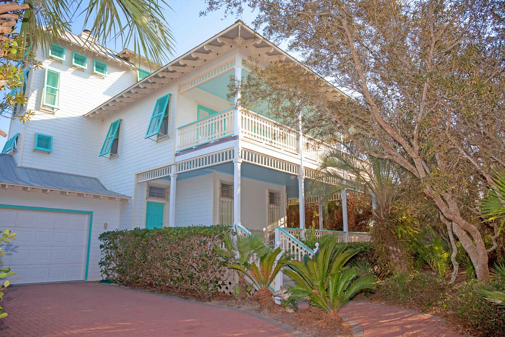 Front of new custom home in Old Florida Beach on 30A