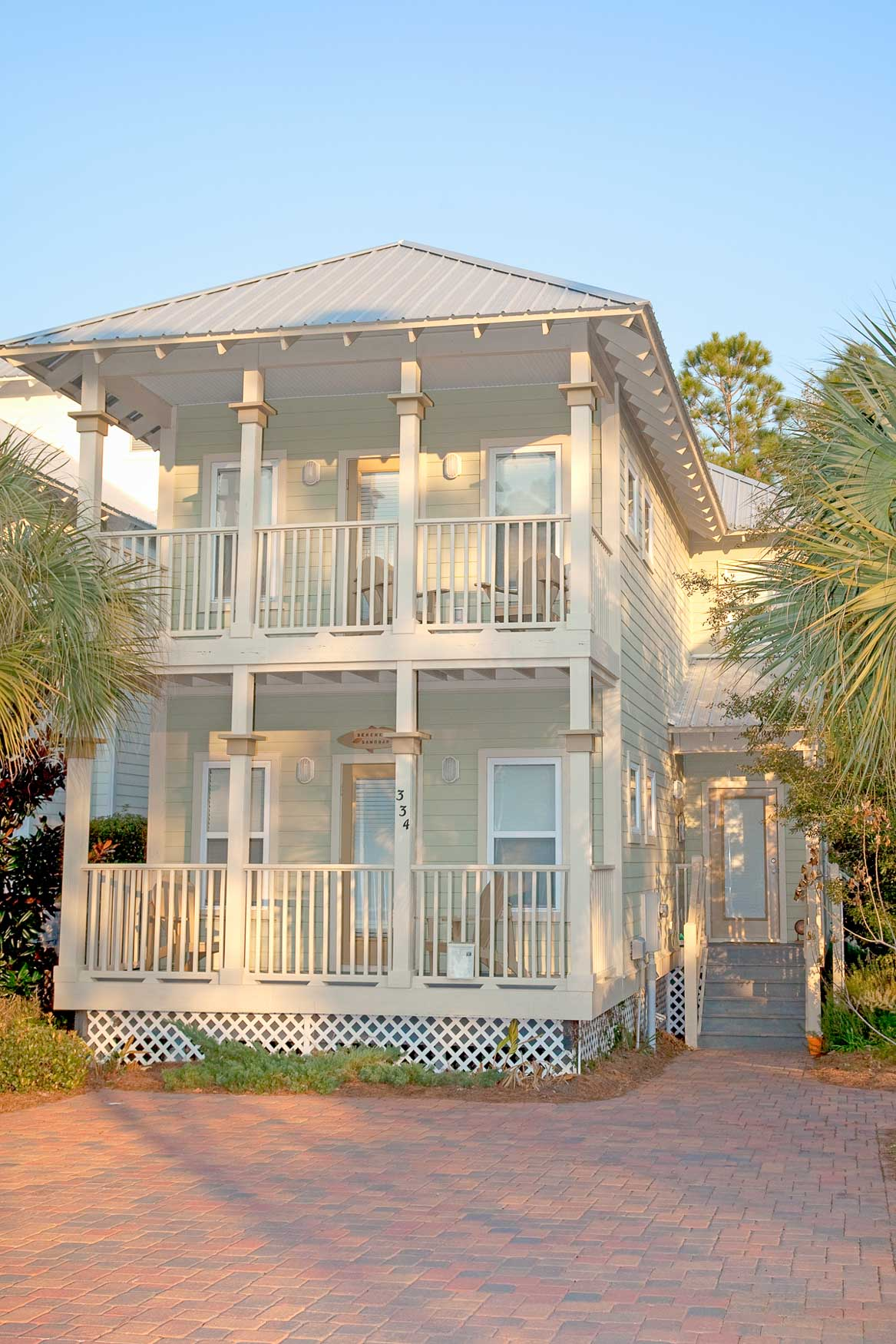 Exterior of nice two storie New Construction home in Old Florida Village on 30A.