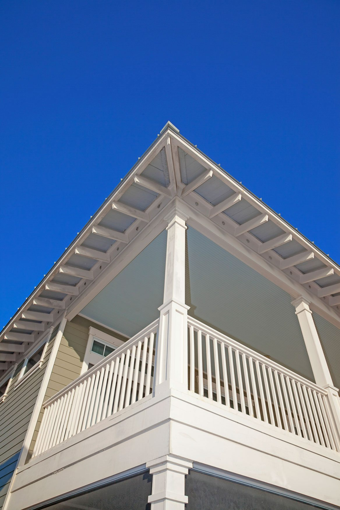 Roof detail of new home in Old Florida Beach on 30A.