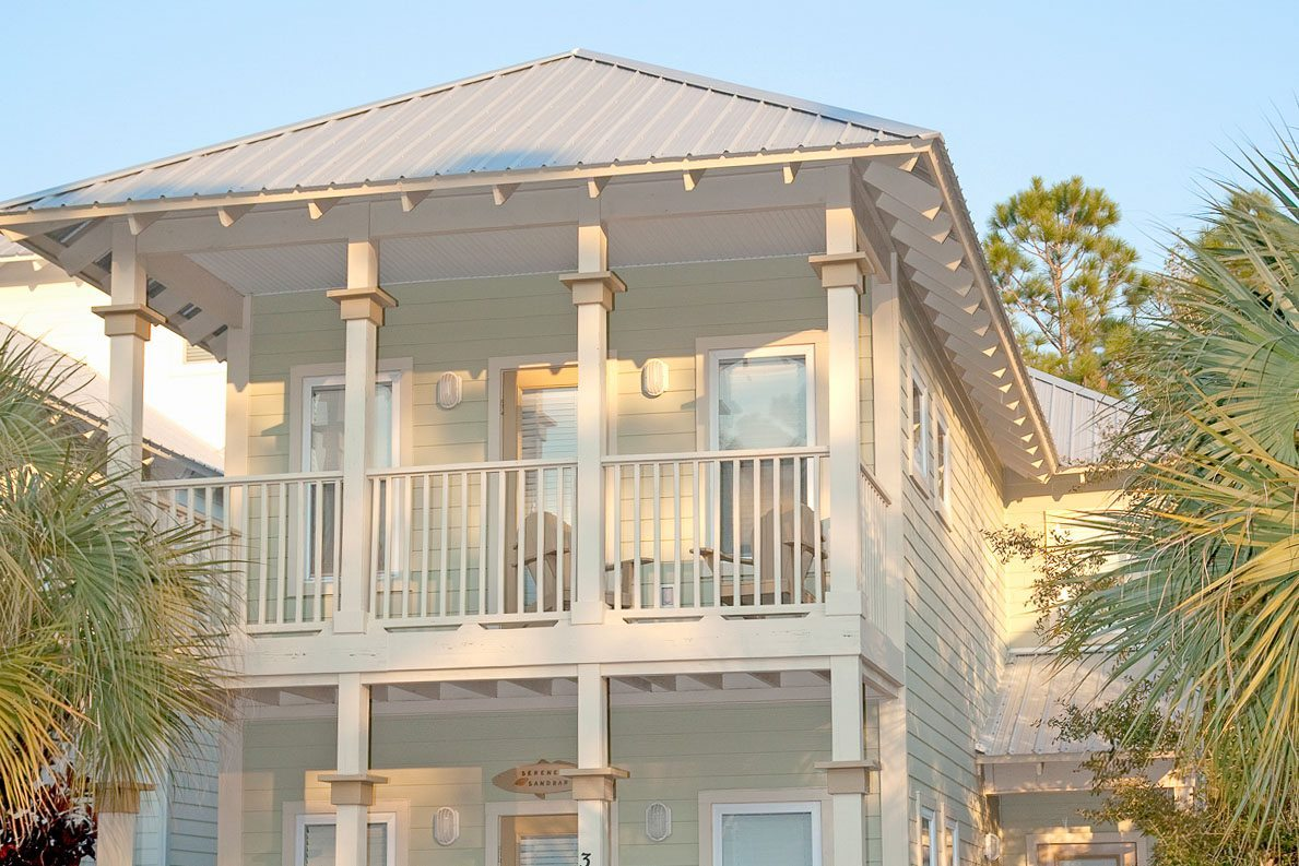 Exterior of nice light green New Construction in Old Florida Village on 30A.
