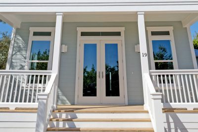 Front porch of new construction home in Old Florida Beach on 30A.