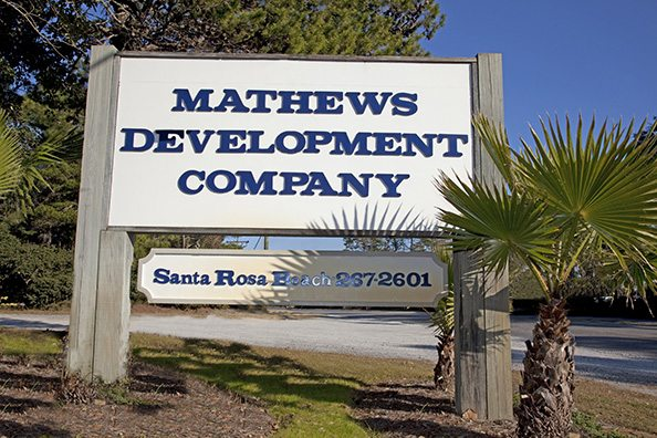 Mathews Development Road Sign on 30a.
